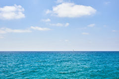 Beautiful Seascape with White Yacht Sailing Royalty Free Stock Images