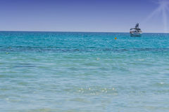 Beautiful seascape with yacht Royalty Free Stock Image