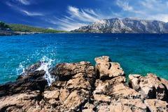 Beautiful seashore. Beautiful landscape with coast and blue sky Royalty Free Stock Photos