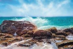 Beautiful  seashore with big stones Royalty Free Stock Photos