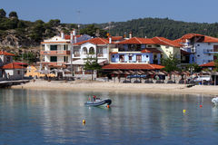 Beautiful seashore scene. A small town in greece (Halkidiki) on a sunny day Stock Images