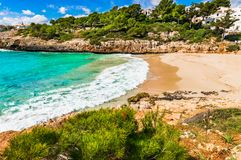 Beautiful seaside beach landscape on Mallorca island, Spain. Coast scenery of beach bay at Cala Anguila, Majorca Spain, Balearic islands, Mediterranean Sea Stock Photography