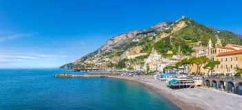 Beautiful seaside city Amalfi in province of Salerno, in region of Campania, Italy. Daylight view of beautiful seaside city Amalfi in province of Salerno, in stock photography