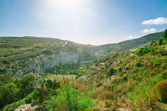 Beautiful seaside cliffs in Gozo Island in Malta. Royalty Free Stock Images