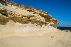 Beautiful seaside cliffs in Gozo Island in Malta. Royalty Free Stock Photography