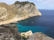 Beautiful seaside landscape in Majorca. Beautiful seaside landscape, in Majorca, showing the blue cristal water Stock Photography
