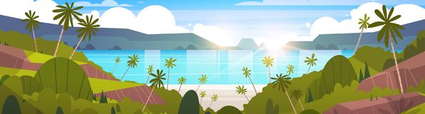 Beautiful Seaside Landscape Summer Beach With Mountains, Blue Water And Palm Trees Exotic Resort Horizon. Flat Vector Illustration Stock Image