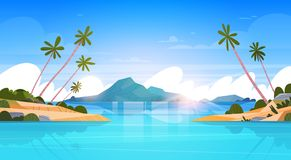 Beautiful Seaside Landscape Summer Beach With Mountains, Blue Water And Palm Trees. Exotic Resort Horizon Flat Vector Illustration Royalty Free Stock Photo