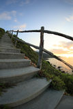 Beautiful seaside mountain stairs lead to sky Royalty Free Stock Photos