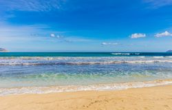 Beautiful seaside sand beach at bay of Alcudia on Mallorca island. Majorca seascape of sand beach at bay of Alcudia, Spain Mediterranean Sea Royalty Free Stock Images