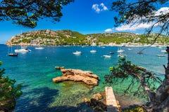Beautiful seaside scenery, bay of Port de Andratx, Majorca island Spain. View of bay with boats at Port Andratx, beautiful seaside scenery on Majorca island Royalty Free Stock Photos