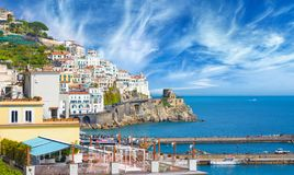 Beautiful seaside town Amalfi in province of Salerno, region of Campania, Italy. Amalfi coast is popular travel and holyday destination in Europe stock image