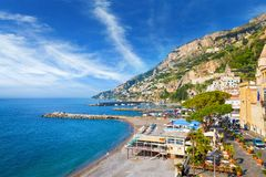 Beautiful seaside town Amalfi in province of Salerno, in region of Campania, Italy. Morning view of beautiful seaside town Amalfi in province of Salerno, in royalty free stock images