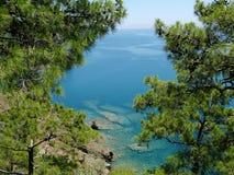 Beautiful seaside through trees Stock Image