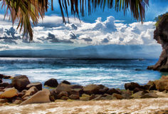 Beautiful seaside on tropical island. Marine scene digital illustration. Royalty Free Stock Images