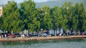 Beautiful seaside view of Ohrid town and the Ohrid lake. Ohrid is fa. Ohrid town seaside and Ohrid lake. Ohrid is famous for its unesco listed historical center stock video footage