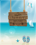 Beautiful seaside view poster. Vector background. Stock Photography