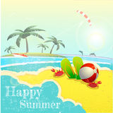 Beautiful Seaside View Poster. Vector background Royalty Free Stock Images