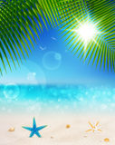 Beautiful seaside view on sunny day with sand vector illustration