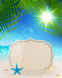 Beautiful seaside view with vintage greeting card. Sand and palm leaves. Summer holiday  background Royalty Free Stock Photo