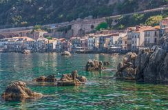 The beautiful seaside village of Scilla, Italy. Scilla, Italy - Laying just in front of Sicily, Scilla is one of the most beautyful seaside villages of Italy stock images