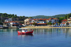 Beautiful seaside villas view Greece Royalty Free Stock Images