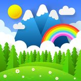 Beautiful Seasonal Background With Bright Rainbow, Flowers In Grass