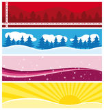 Beautiful seasonal banners. Snow ans sun Royalty Free Stock Photography