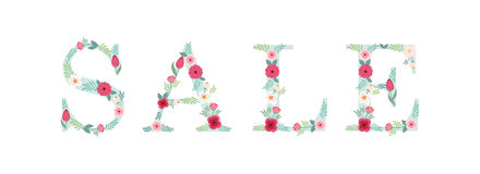 Beautiful seasonal shop banner with letters decorated with hand drawn rustic flowers Stock Photography