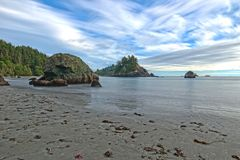 Beautiful secluded beach on Redwood Coast Stock Photo