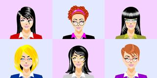 Beautiful secretariats with different eyeglasses Stock Image