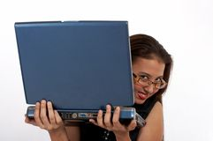 Beautiful secretary hiding Royalty Free Stock Photos
