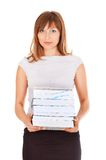 Beautiful secretary with a lot of work Royalty Free Stock Photo