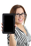 Beautiful secretary showing a blank tablet pc screen Stock Image