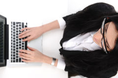 Beautiful secretary  typing Royalty Free Stock Photo