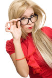 Beautiful secretary woman glasses Stock Images
