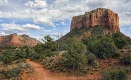 Beautiful Sedona red rock desert landscape. Hiking trails in Sedona, Arizona lead out into the beautiful red rock desert scenery Stock Photo