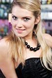 Beautiful seductive blond in evening wear stock photo