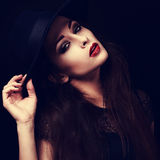 Beautiful seductive bright makeup lady with red hot lips posing Royalty Free Stock Image
