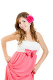 Beautiful seductive brunette girl with flower in hair Royalty Free Stock Photo