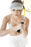 Beautiful  seductive  female tennis player with rasket. Stock Photos