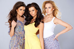 Beautiful seductive trio of young women Stock Images