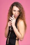 Beautiful seductive woman holding Stock Photos