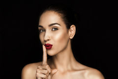 Free Beautiful Seductive Woman With Shh Symbol Royalty Free Stock Photography - 99045437