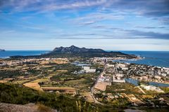 View from alcudia mallorca. Beach in Mallorca. Beautiful seight in mallorca. Photo for postcard Royalty Free Stock Image