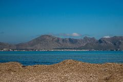 View from port de pollença mallorca. Beach in Mallorca. Beautiful seight in mallorca Royalty Free Stock Image