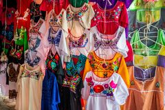 A traditional Mexican clothing in Nuevo Progreso, Mexico. A beautiful selections of local Mexican souvenir objects to be founded in Nuevo Progreso royalty free stock image