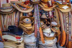 A traditional Mexican clothing in Nuevo Progreso, Mexico. A beautiful selections of local Mexican souvenir objects to be founded in Nuevo Progreso royalty free stock photos