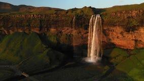 Beautiful Seljalandsfoss waterfall in Iceland during Sunset. stock video