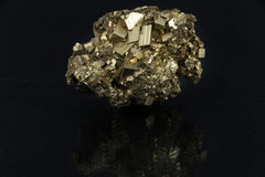 Free Beautiful Semi-precious Stone Pyrite  On A Black Background Royalty Free Stock Images - 89240609